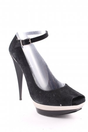 High Heels schwarz-silberfarben Party-Look