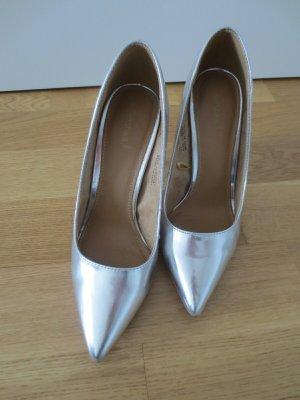 High Heels, Silber, Gr. 37, Bershka, Absatz 10 cm, Spitz