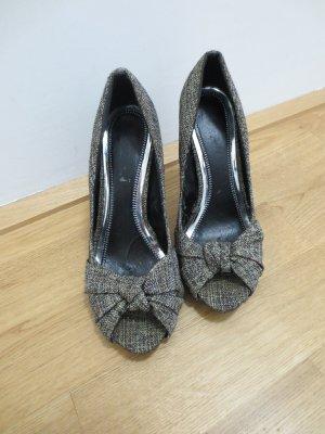 High Heels, Stoff mit Masche, Gr. 38, Absatz 10 cm, vorne offen