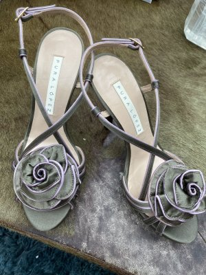 High heels Stoff taupe mit Blüte