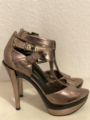 High Heels Taupe Metallic Optik in Gr. 38