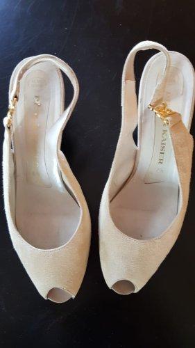 Peter Kaiser Peep Toe Pumps cream leather