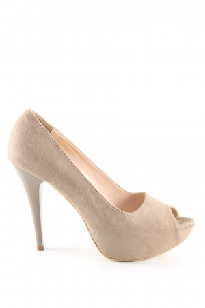 High Peeptoe Pumps creme Casual-Look