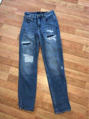 Hollister Pantalon taille haute bleu-bleu fluo