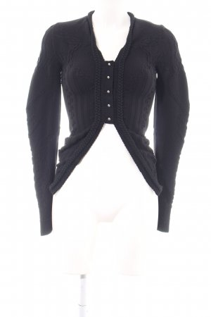 High Strickjacke schwarz Zopfmuster Elegant