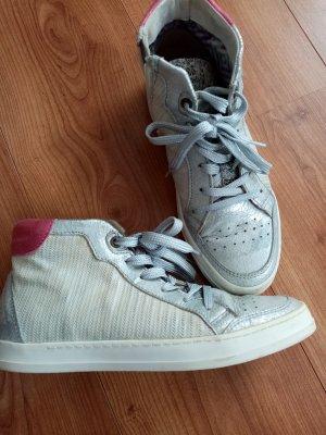 High Top Sneaker Silber Metallic Gr 39