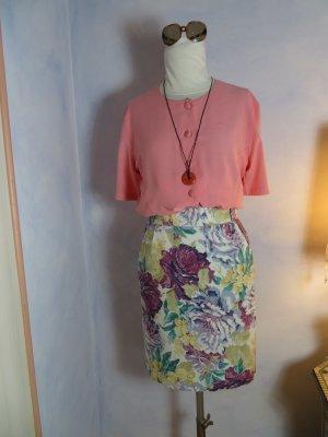 High Waist Blumen Rock Floral - Gr. 36 - Kurzer Bleistiftrock - geblümt - 100% Baumwolle Leinen - Vintage