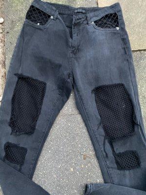 High waist boyfriend mom ripped jeans Netzstoff mesh Risse am Knie
