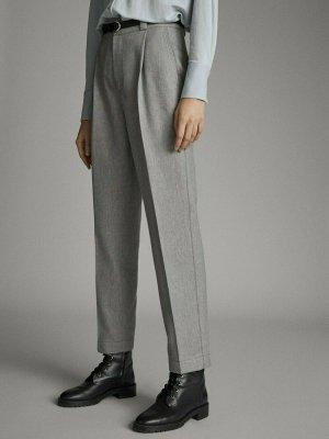 Massimo Dutti Pantalone a vita alta grigio chiaro