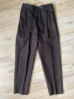 Massimo Dutti High Waist Trousers black linen