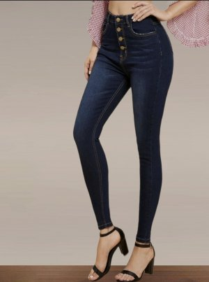 High-waist button front Skinny Jeans