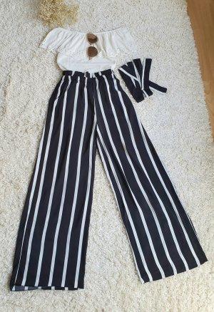 Pieces Spodnie z wysokim stanem biały-czarny