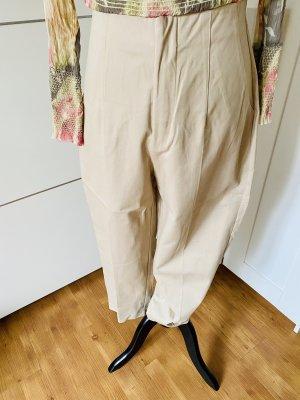 Zara Spodnie z wysokim stanem jasnobeżowy