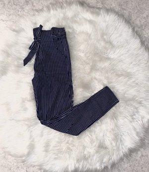 Pantalón de cintura alta azul oscuro-blanco
