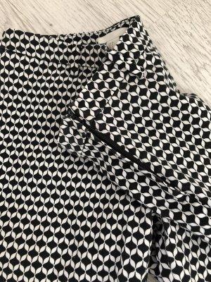 H&M Hoge taille broek zwart-wit