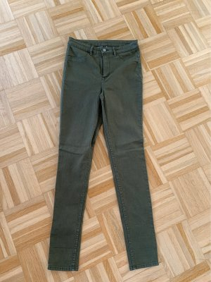 H&M Hoge taille jeans khaki-olijfgroen