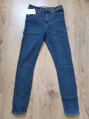 Asos Jeans taille haute bleu-bleu foncé