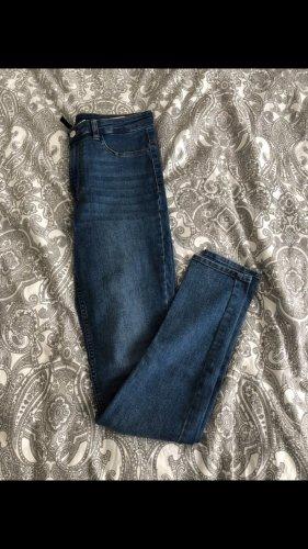 H&M Pantalon taille haute bleu foncé