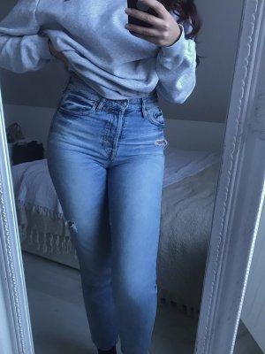 H&M Jeans taille haute gris ardoise