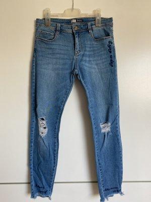 High waist jeans gerippt mit Stickerei