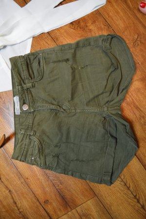 High Waist Jeans kurz khaki Bershka 36