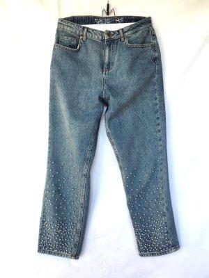 Noisy May Jeans a vita alta azzurro-grigio ardesia Cotone