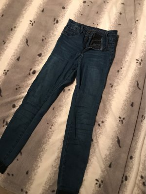 Pull & Bear Hoge taille jeans donkerblauw