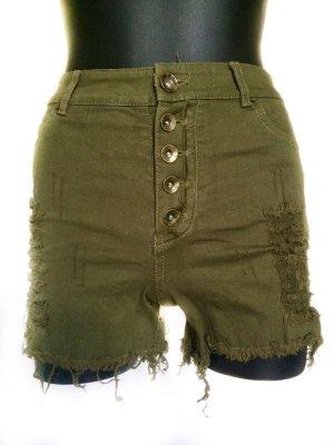 FB Sister Short taille haute gris vert coton