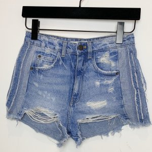 High Waist Jeansshorts Used Look