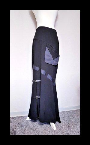 high waist Maxirock mit Lederstreifen und Tasche, Grunge, Festival, Gothic