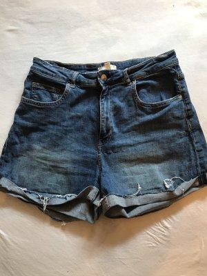 H&M Short taille haute bleu foncé