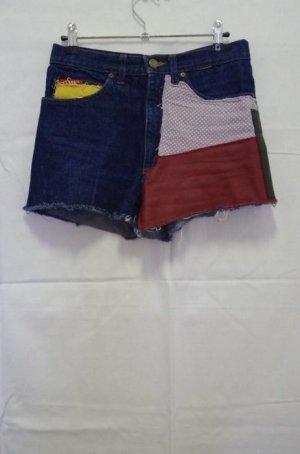 High Waist Shorts Hotpants Vintage DIY Patchwork Leder Leather Polka Dots Ombre Denim Blogger Jeans