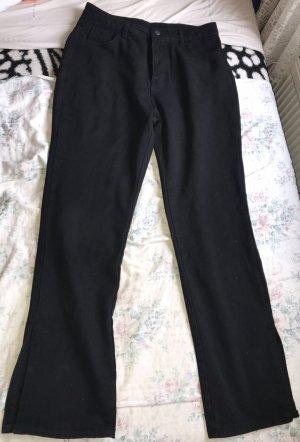 High waist side Split hem Jeans schwarz