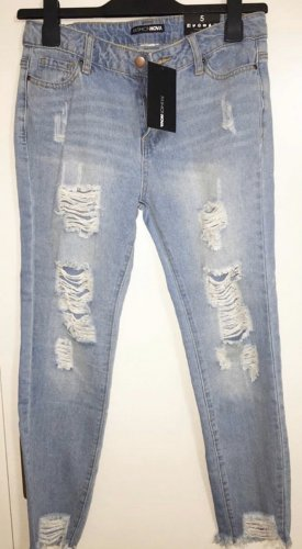 High waist skinny destroyed ripped ankle jeans mit rissen