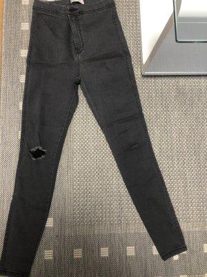 Bershka Spodnie z wysokim stanem ciemnoszary-antracyt