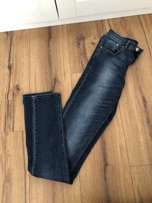 High Waist Skinny Jeans 27/32 blaue Waschung