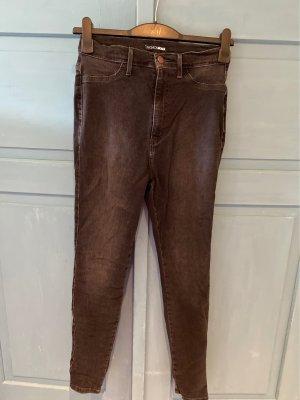 High Waist Skinny Jeans in verwaschenem Grau