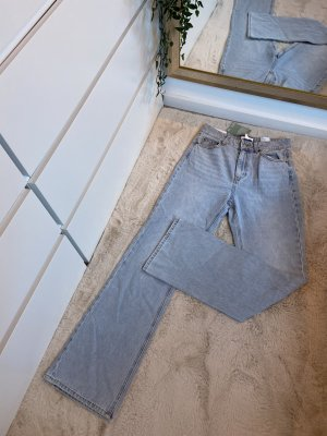 H&M Jeansy z prostymi nogawkami chabrowy-stalowy niebieski Bawełna