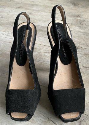 Zara Sandalias con plataforma negro Cuero
