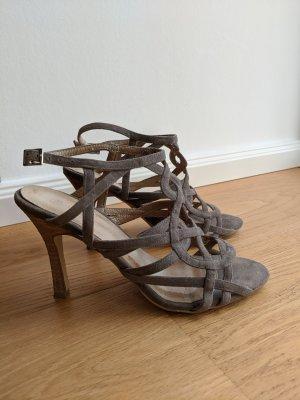 Highheel-Sandaletten aus Leder