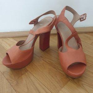 5th Avenue Platform High-Heeled Sandal apricot-russet leather