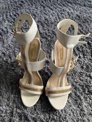 Highheel Sandaletten Neu weiß/Gold