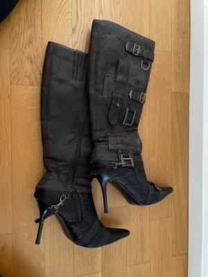 Graceland Wysokie buty na obcasie ciemnobrązowy