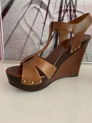 Carvela Platform High-Heeled Sandal brown leather