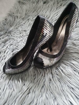 Highheels Pailletten Silber schwarz 39