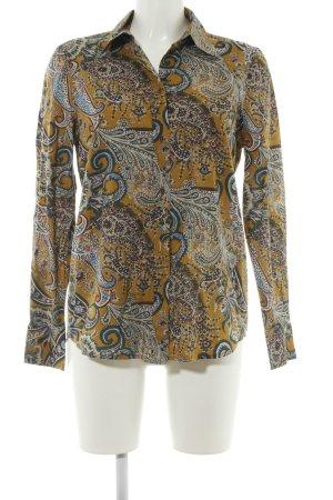 Highmoore Hemd-Bluse hellorange abstraktes Muster extravaganter Stil