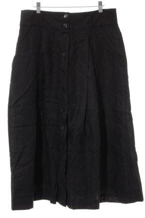 Highmoore Falda de lino negro Patrón de tejido look casual