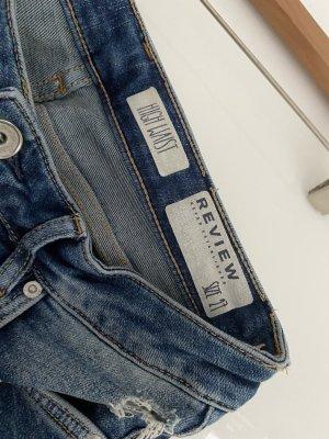 Review Jeans taille haute bleu foncé-bleu