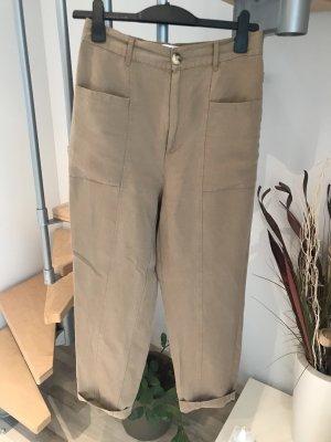 Zara Pantalon taille haute chameau