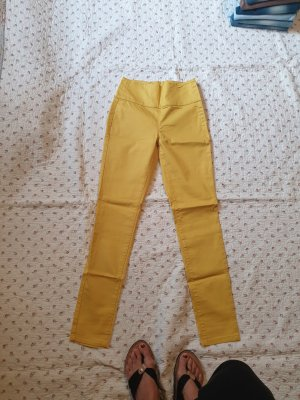 Pieces Hoge taille broek geel Gemengd weefsel